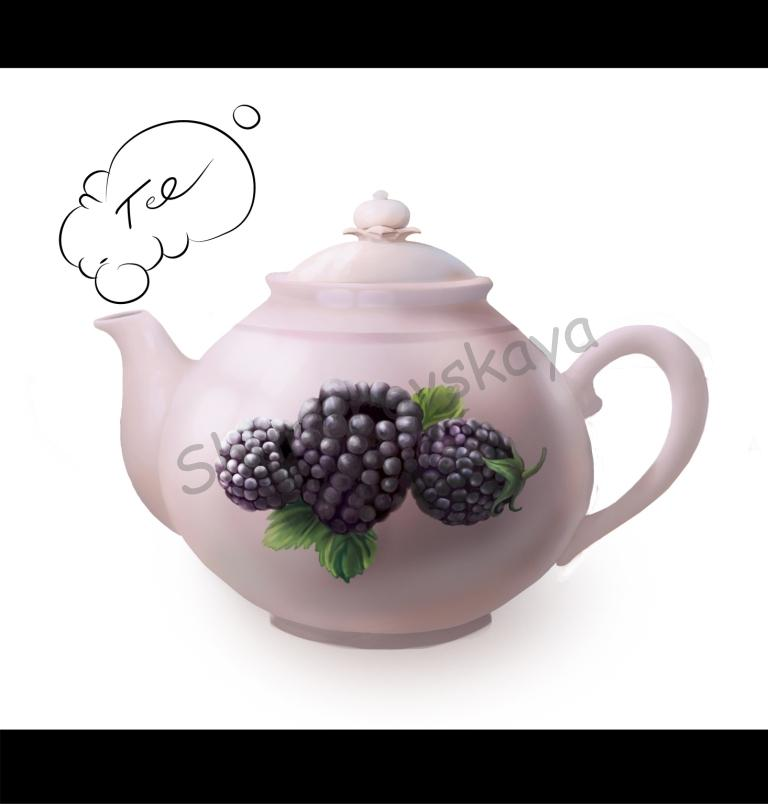 chaynik4 Чайник ягоды шундровская чайник чаепитие художник рисунок Ольга Шундровская мультики компьютерная графика иллюстрация